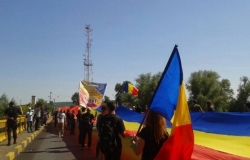 At Sculeni check-point there has been stretched three-kilometer tricolor